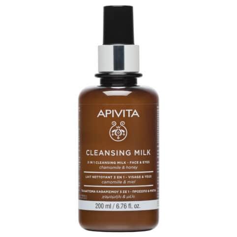Apivita Cleansing Milk Γαλάκτωμα 3 σε 1 για Πρόσωπο & Μάτια με Χαμομήλι & Μέλι 200ml
