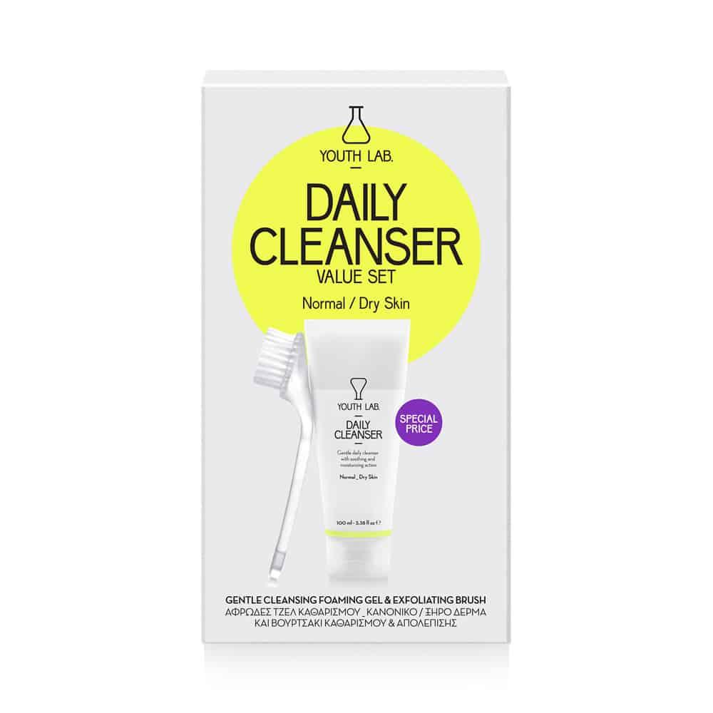 Youth Lab Daily Cleanser Value Set Αφρώδες Τζελ Καθαρισμού 100ml Κανονικές / Ξηρές & Βουρτσάκι Καθαρισμού 1τμχ