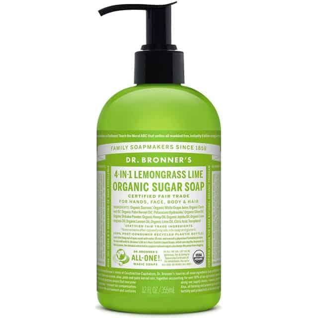 Dr. Bronner's Υγρό Σαπούνι Sugar Soap Lemongrass-Lime 355ml