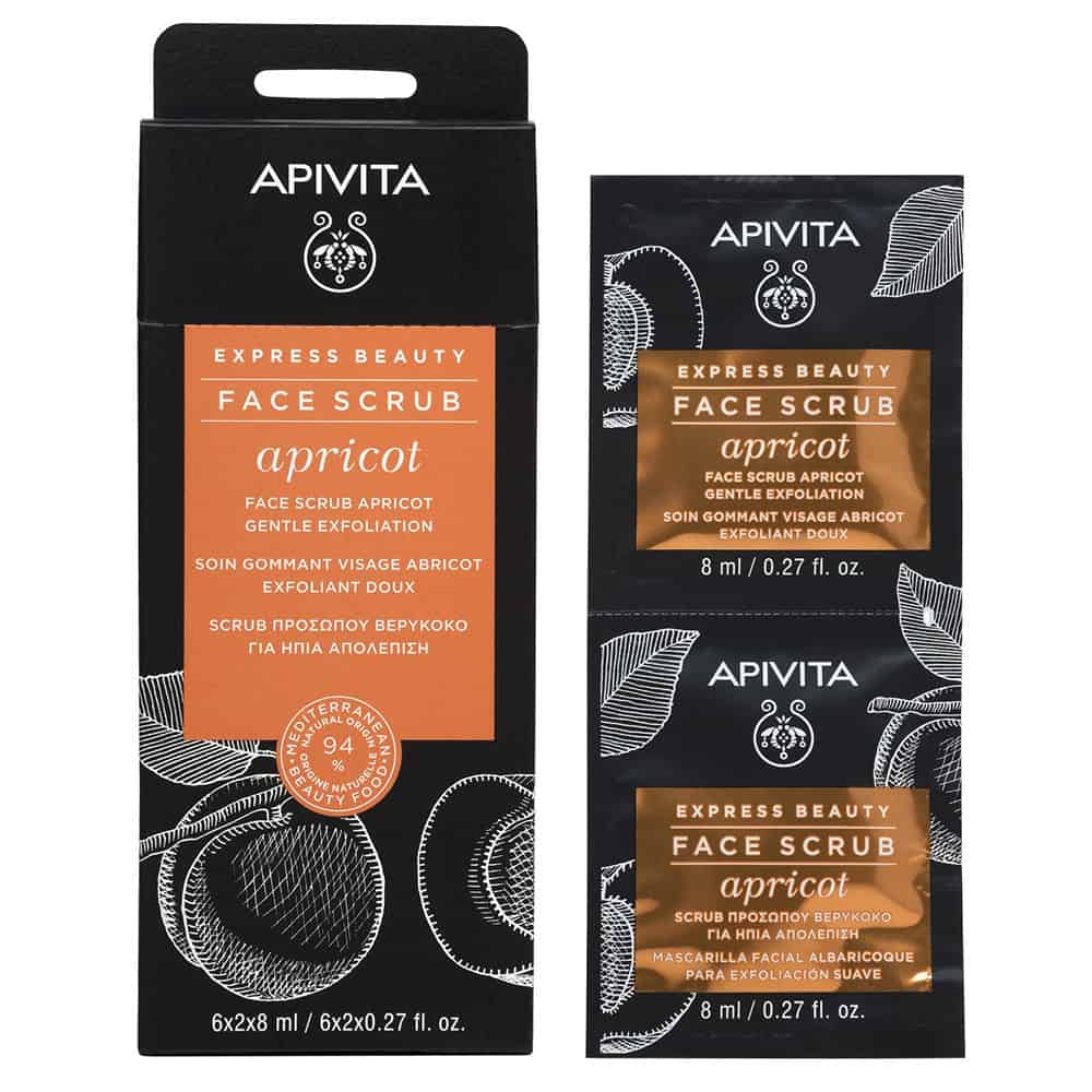 Apivita Express Beauty Τζελ Ήπιας Απολέπισης με Βερύκοκο 2x8ml