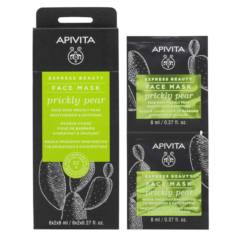 Apivita Express Beauty Μάσκα Προσώπου με Φραγκόσυκο για Ενυδάτωση & Καταπράυνση 2x8ml