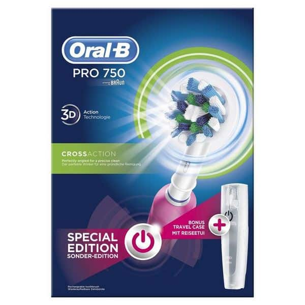 Oral-B Pro 750 3D CrossAction Pink & Δώρο Θήκη Ταξιδίου