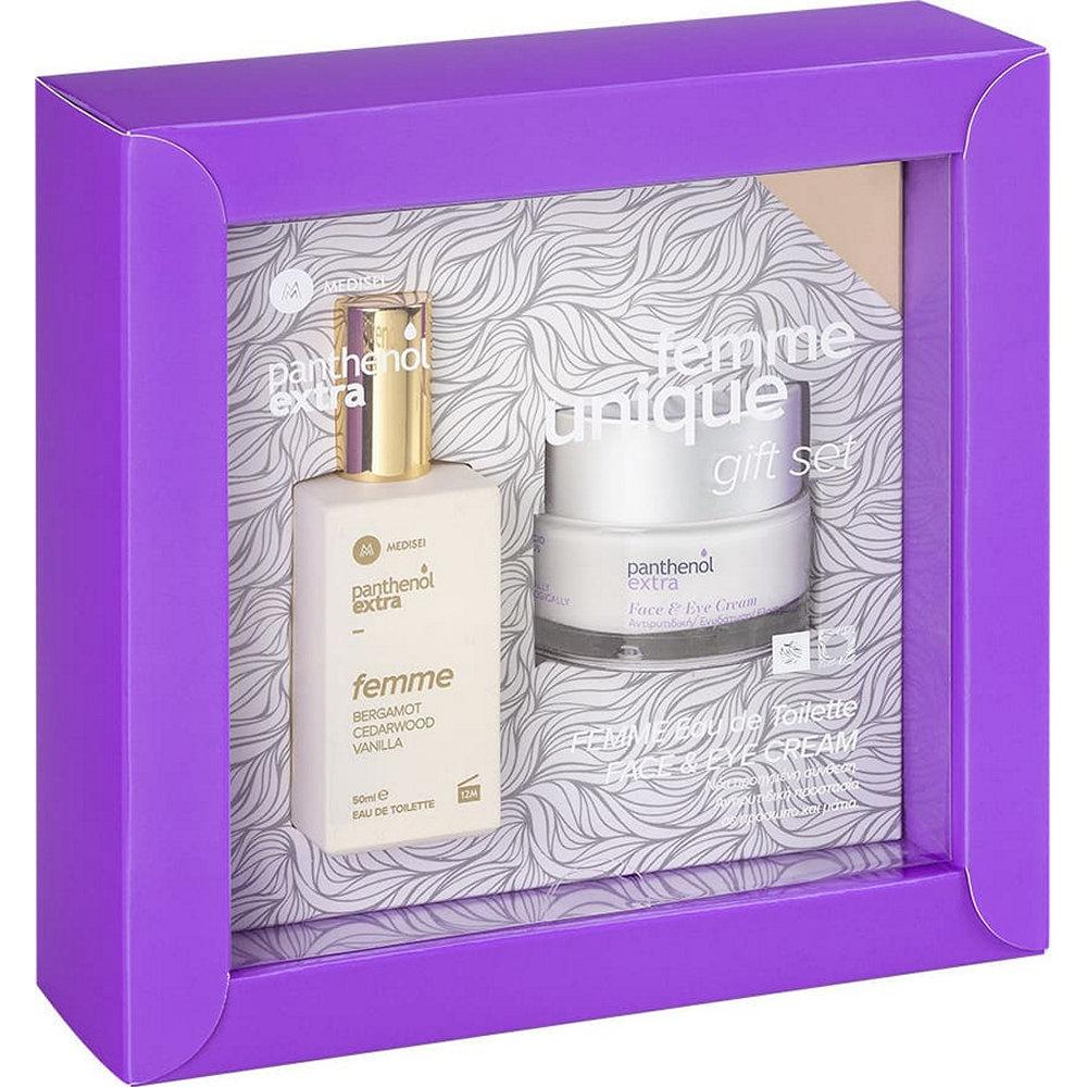 Panthenol Extra Femme Unique Gift Set Face & Eye Anti-Wrinkle Cream 50ml & Bergamot Cedarwood Vanilla Eau de Toilette 50ml