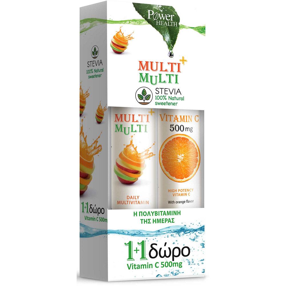 Power Health Multi + Multi Στέβια & Vitamin C 500mg 20+24τμχ