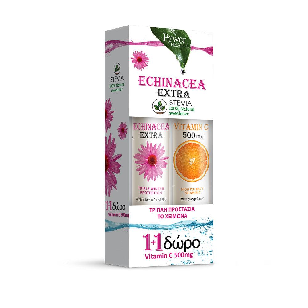 Power Health Echinacea Extra με Στέβια 20 αναβράζοντα δισκία & Vitamin C 500mg 20 αναβράζοντα δισκία