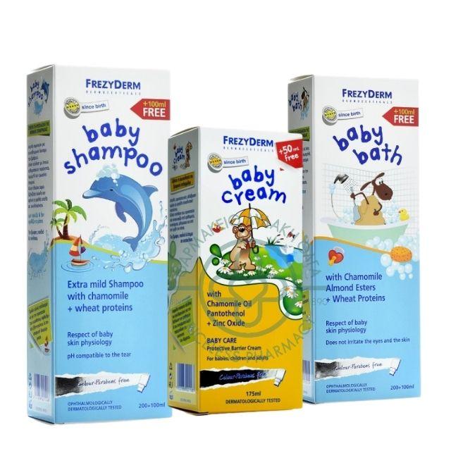 Frezyderm Πακέτο Baby Line 3 προϊόντων Baby Bath 300ml, Baby Shampoo 300ml, Baby Cream 175ml