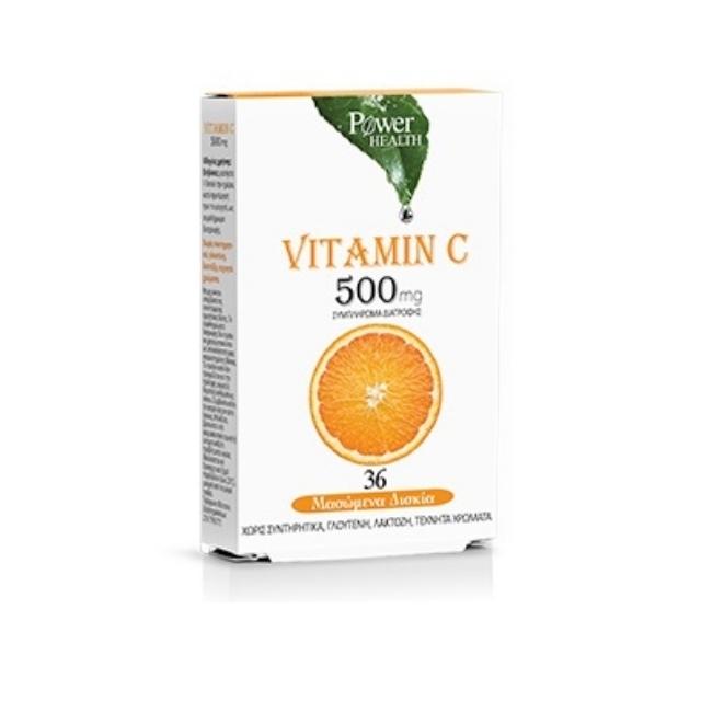 Power Health Vitamin C 500mg (With Stevia) 36 μασώμενες ταμπλέτες