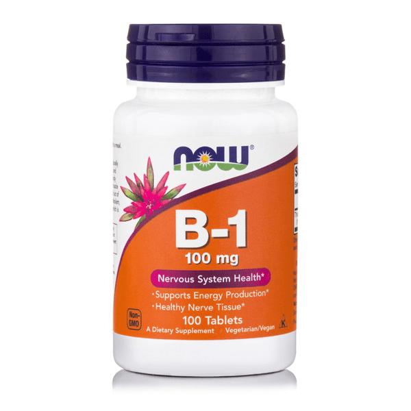 Now Vitamin B1 100mg Συμπλήρωμα Θειαμίνης για την Παραγωγή Ενέργειας από τον Οργανισμό, 100 ταμπλέτες