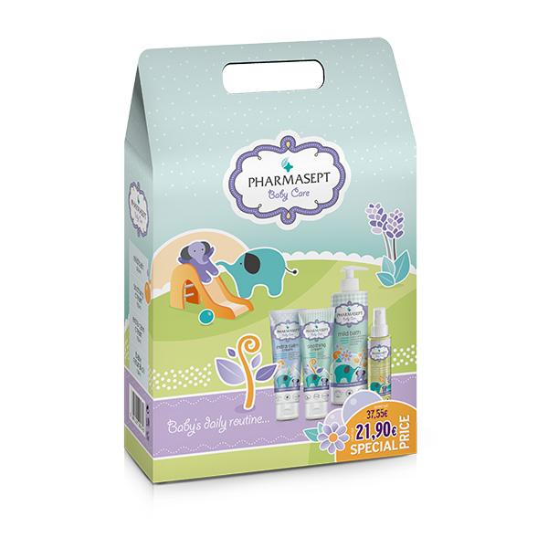 Pharmasept Promo Pack Ολοκληρωμένη Φροντίδα για το Μωρό με Baby Mild Bath 500ml, Baby Extra Calm Cream 150ml, Baby Soothing Cream 150ml, Baby Natural Oil 100ml