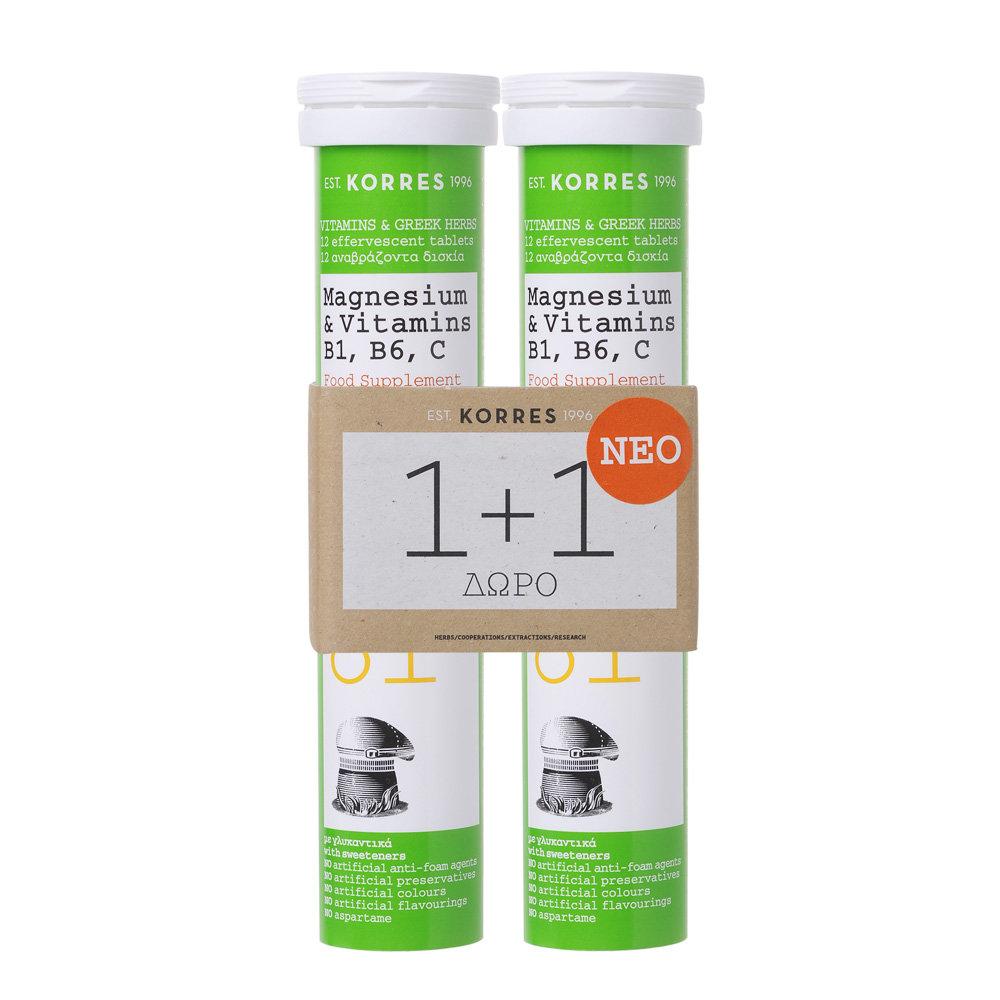 Korres Magnesium & Vitamins B1, B6, C, 2 x 12 τμχ