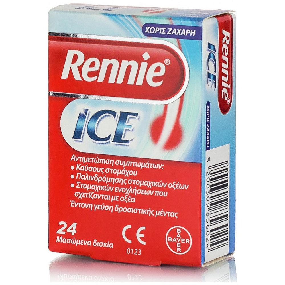 Bayer Rennie Ice Αντιόξινο 24 Μασώμενα Δισκία