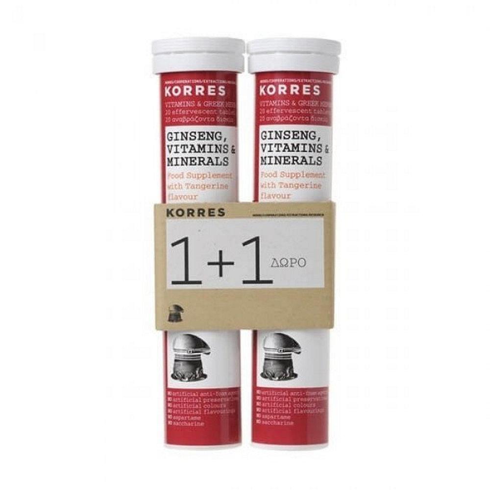 Korres Ginseng, Βιταμίνες & Μέταλλα Γεύση Μανταρίνι 2 x 20τμχ