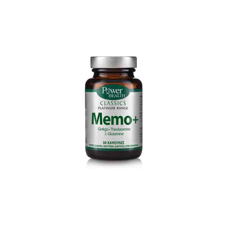 Power Health Classics Platinum MEMO+, Ginkgo, L-Glutamine & Theobromine 30 κάψουλες