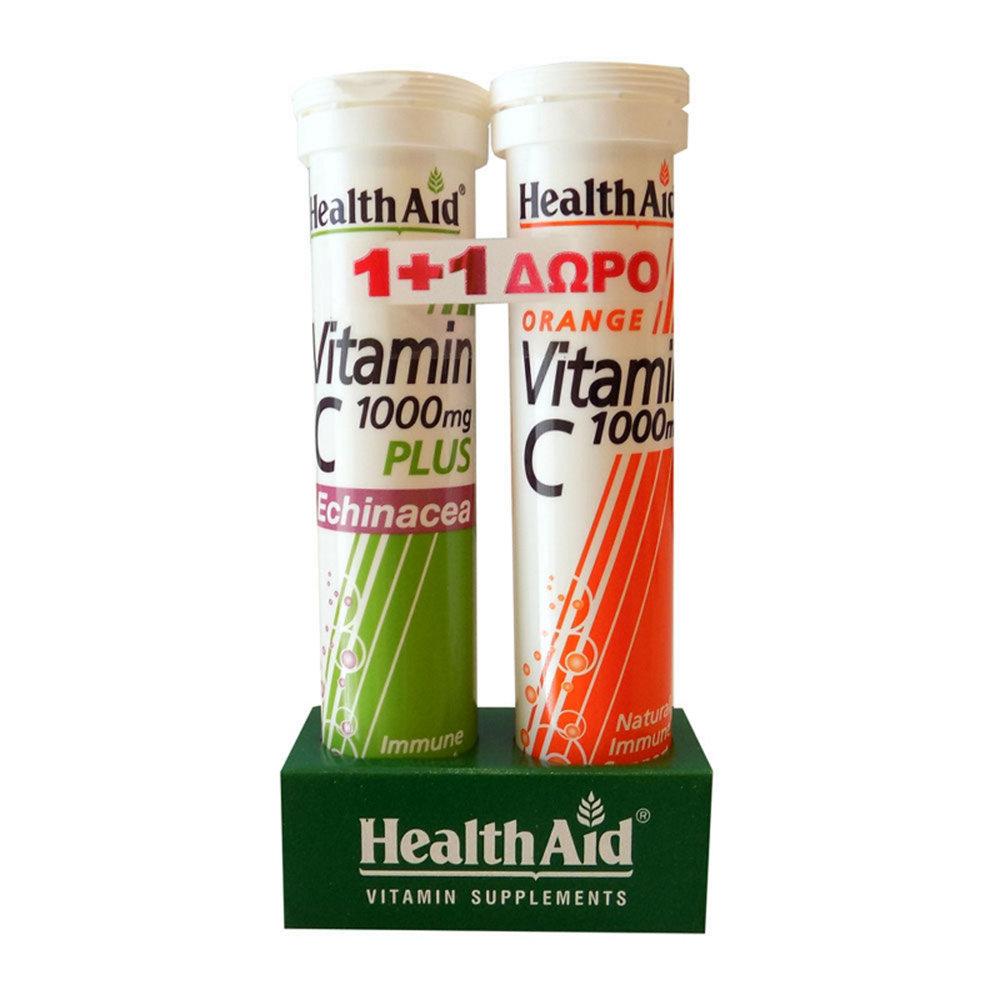 HealthAid Vitamin C 1000mg Plus Echinacea + Vitamin C 1000mg 2×20 ταμπλέτες