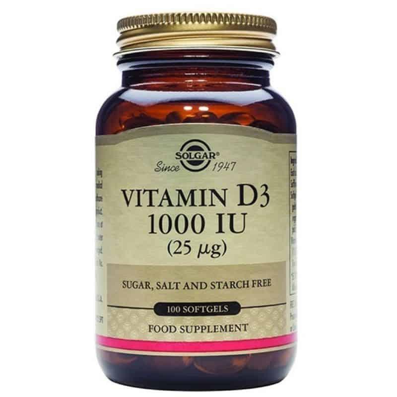 Solgar Vitamin D-3 1000IU 25μg, 100 μαλακές κάψουλες