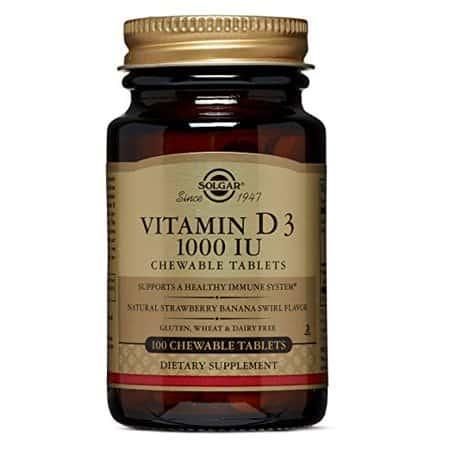 Solgar Vitamin D3 1000 IU με γέυση Φράουλα - Μπανάνα, 100 μασώμενες ταμπλέτες