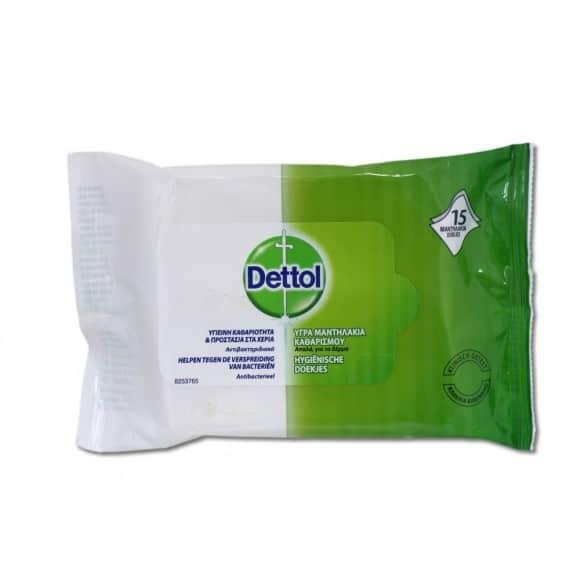 Dettol Υγρά Αντιβακτηριδιακά Μαντηλάκια Καθαρισμού 15 τεμ.