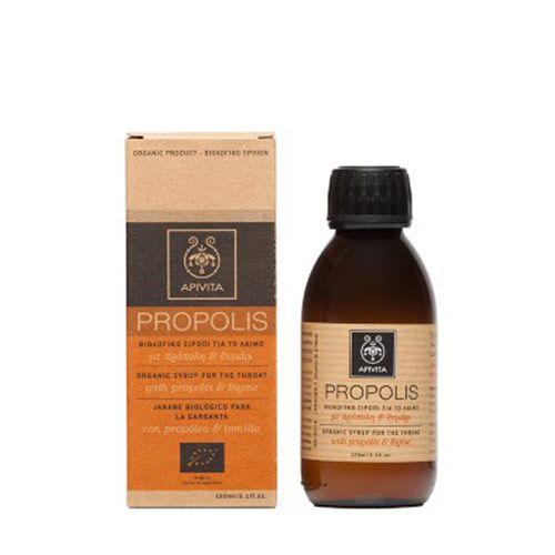 Apivita Organic Syrup For The Throat Βιολογικό Σιρόπι Λαιμού με Πρόπολη & Θυμάρι 150ml