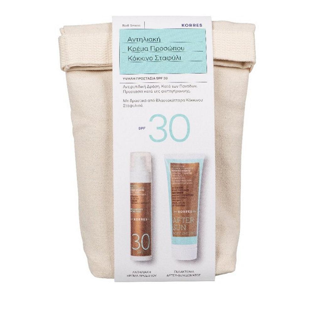 Korres Red Grape Sunscreen Face Cream SPF30 50ml Gift After Sun 125ml