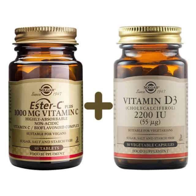 solgar ester c 1000mg 30 tabs + vitamin d3 2200iu 50 vcaps