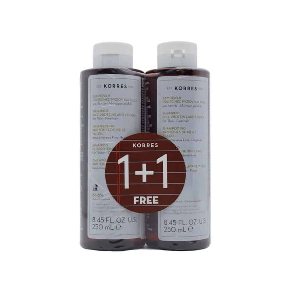 Korres shampoo Rice Proteins And Linden 1+1 250ml