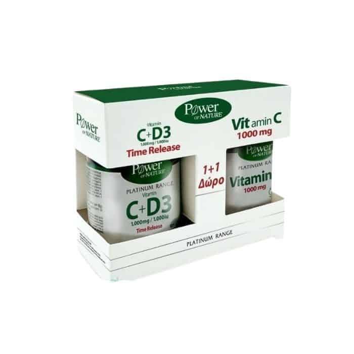 Power of Nature 1+1 Δώρο Platinum RangeC 1000mg & D3 1000iu Time Release, 30caps & Vitamin C 1000mg, 20caps (1)