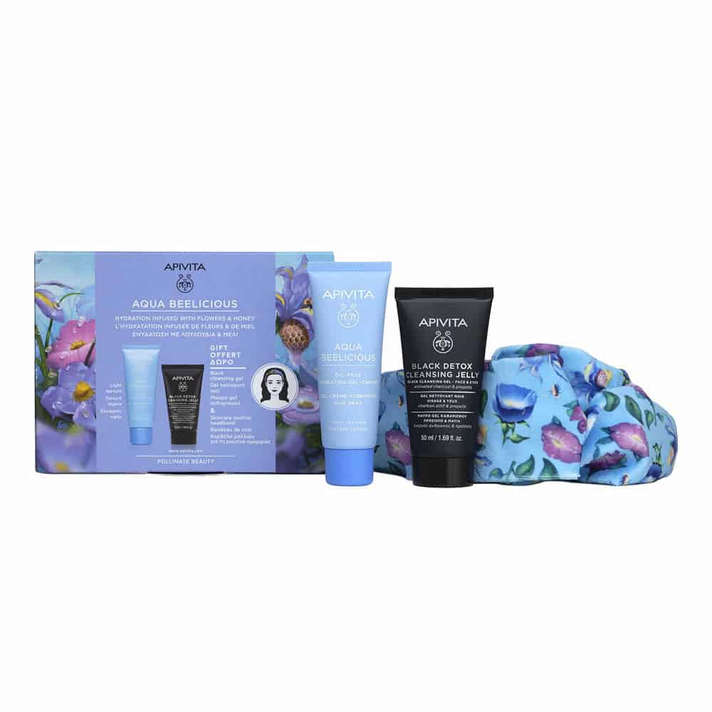 Apivita Promo Aqua Beelicious Oil Fre Black Cleansing Box With Headband