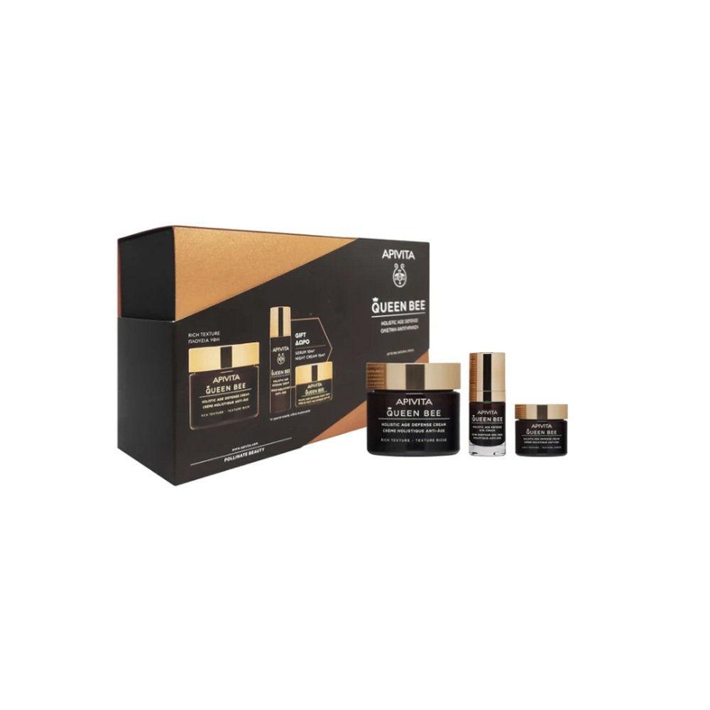 Apivita Promo Queen Bee Day Cream Dry Skin 50ml Serum 10ml Night Cream 15ml