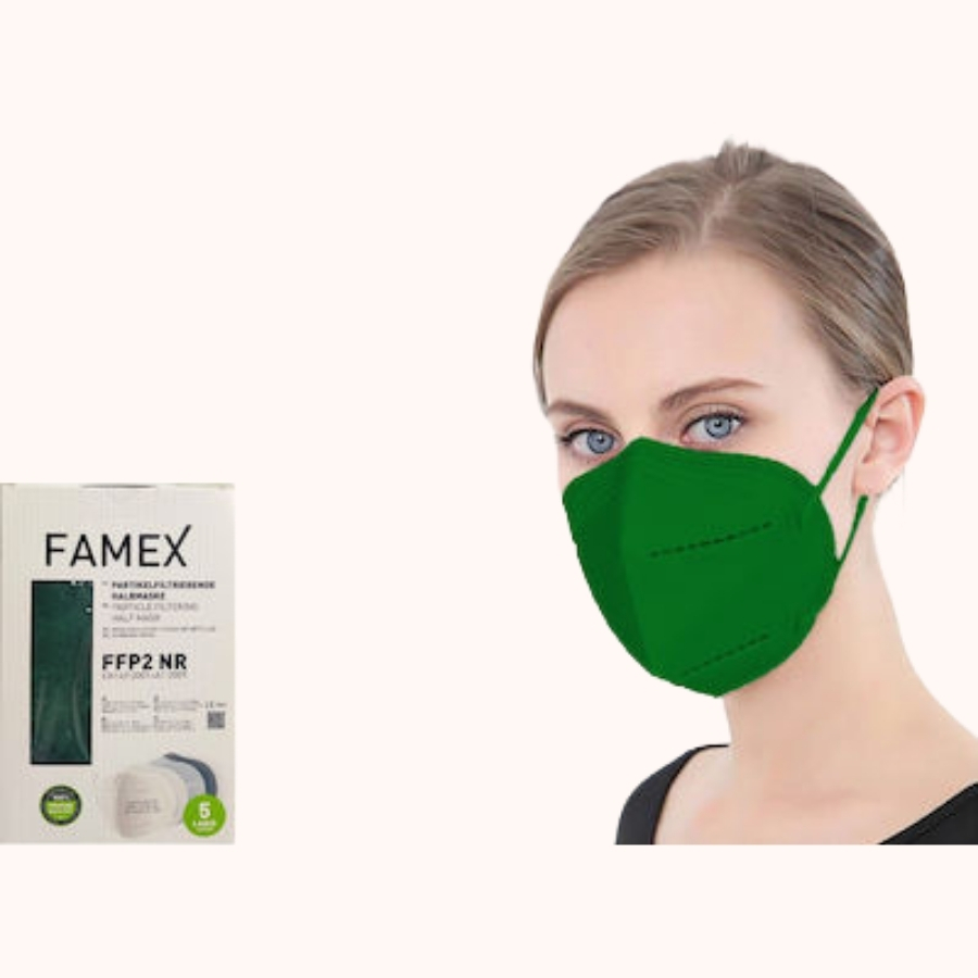 Famex Particle Filtering Half Mask FFP2 NR Dark Green