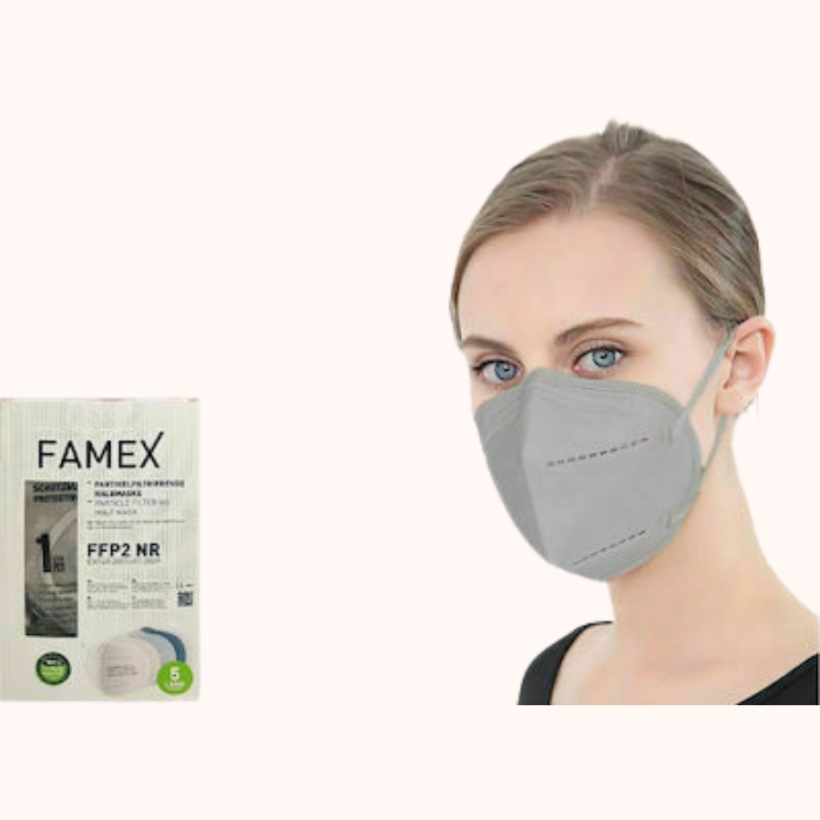 Famex Particle Filtering Half Mask FFP2 NR grey
