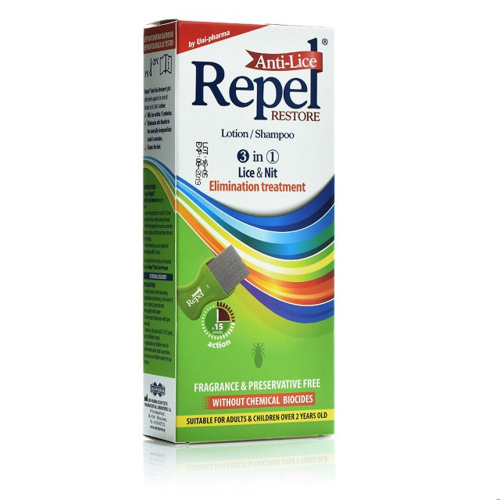 Uni Pharma Repel Anti-Lice Restore Lotion Shampoo 200ml