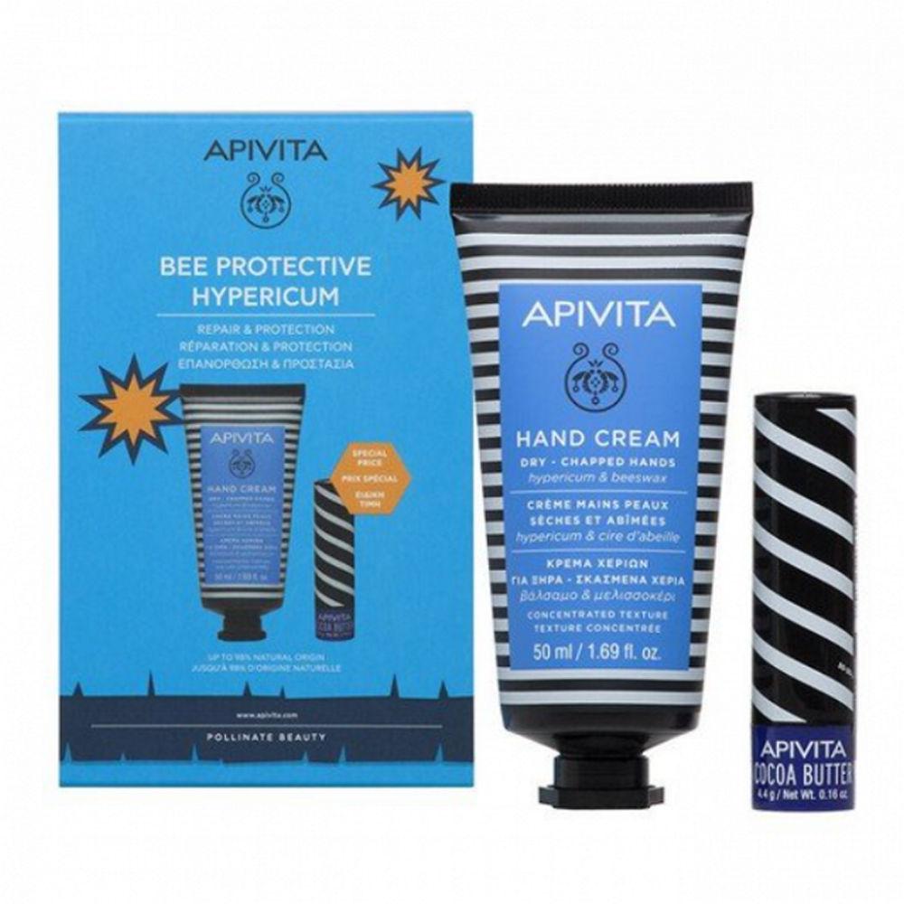 Apivita Bee Protetive Hypericum Hand Cream 50ml & Lip Care Cocoa Butter 4.4gr