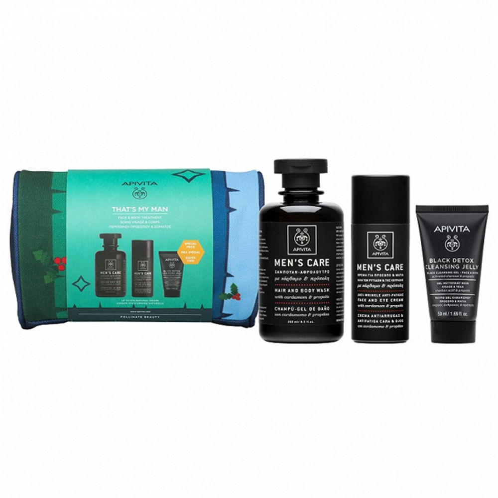 Apivita Promo Mens Care Hair & Body Wash 250ml & Anti-Wrinkle Anti-Fatique Face & Eye Cream 50ml & Black Detox Cleansing Jelly 50ml